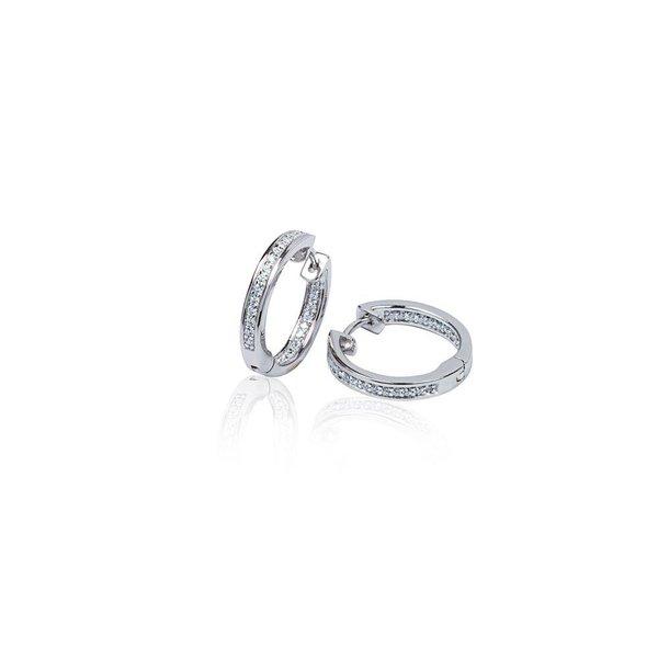 Zilveren klapcreolen - zirkonia - 1 x 19 mm