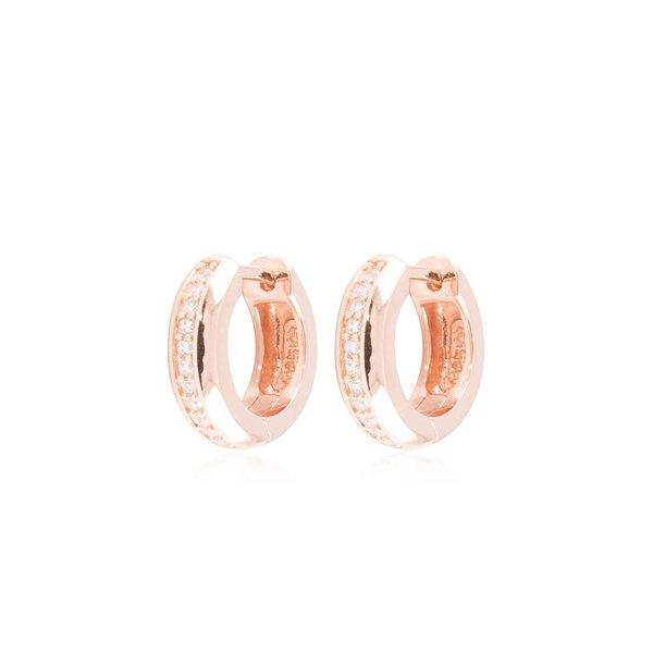 Zilveren klapcreolen - rosé plated - zirkonia