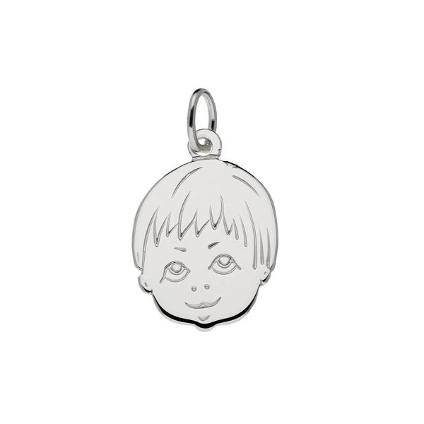Zilveren kinderkopje - 20x14mm - jongen