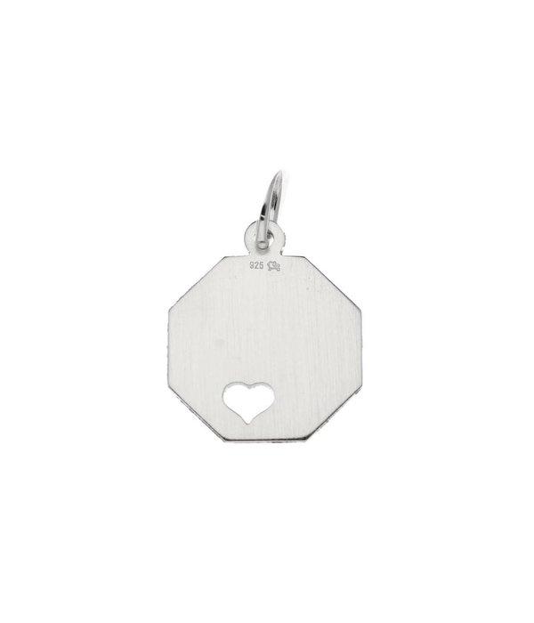 Best basics Zilveren graveerplaatje - 15 mm - achthoek harten -