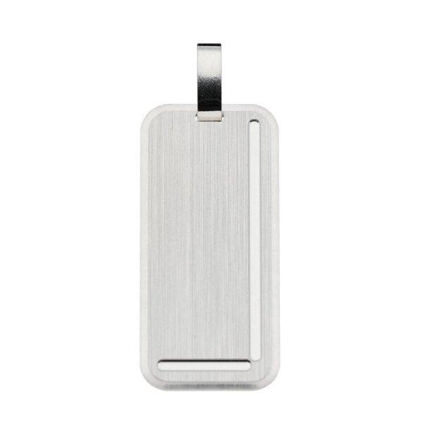 Zilveren graveerplaatje - 14 mm - rechthoek