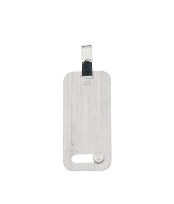 Best basics Zilveren graveerplaatje - 12 mm - rechthoek - Met zirkonia