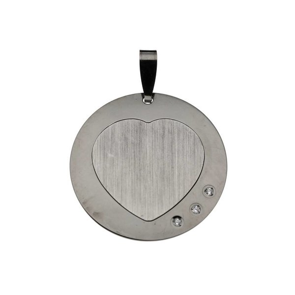 Zilveren graveerplaatje - 22 mm - rond met hart