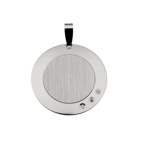 Zilveren graveerplaatje - 22x22 mm - rond zirkonia