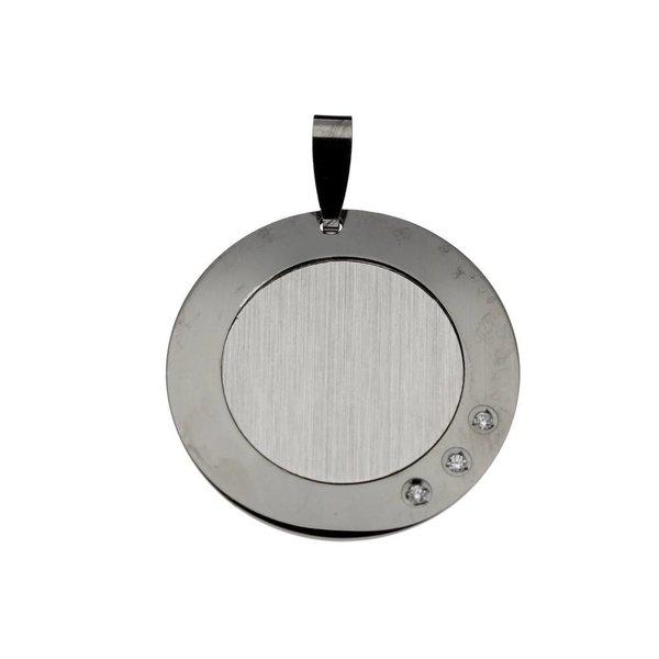 Zilveren graveerplaatje - 22 mm - rond zirkonia