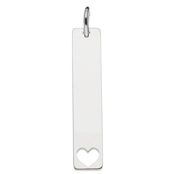 Zilveren graveerplaatje - 7x35 mm - bar - hart