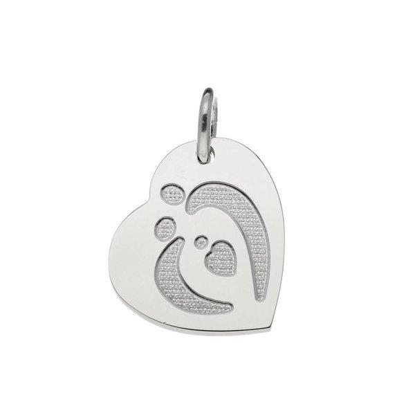 Zilveren graveerplaatje - 21x20 mm - hart