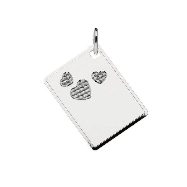 Zilveren graveerplaatje - 20x15 mm - 3 harten