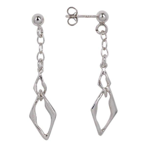 Zilveren oorhangers - ruitvormige hanger