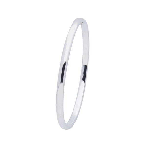 Zilveren holle slavenband dop - ovaal 4 mm - 56 mm