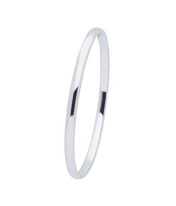 Best basics Zilveren holle slavenband dop - ovaal 4 mm - 56 mm -