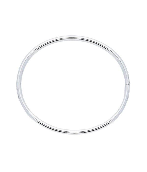 Best basics Zilveren holle slavenband dop - ovaal 5 mm - 56 mm -