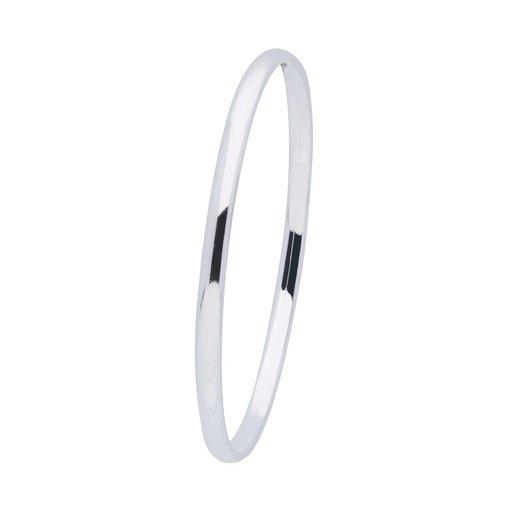 Zilveren holle slavenband dop - ovaal 4 mm - 60 mm