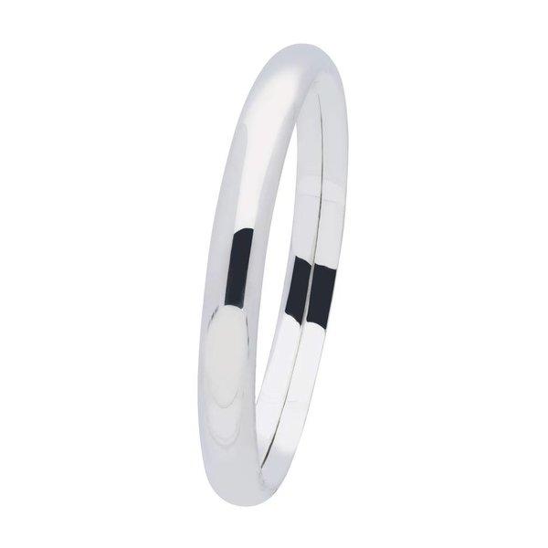 Zilveren holle slavenband dop - ovaal 8 mm - 60 mm