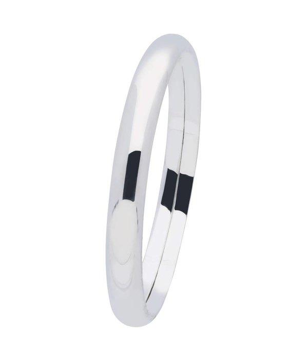 Best basics Zilveren holle slavenband dop - ovaal 8 mm - 60 mm -