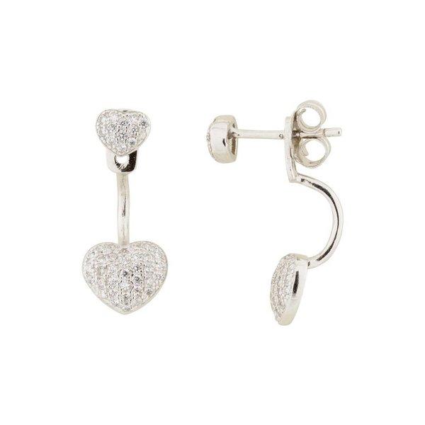 Zilveren gerodineerde earjackets - hart