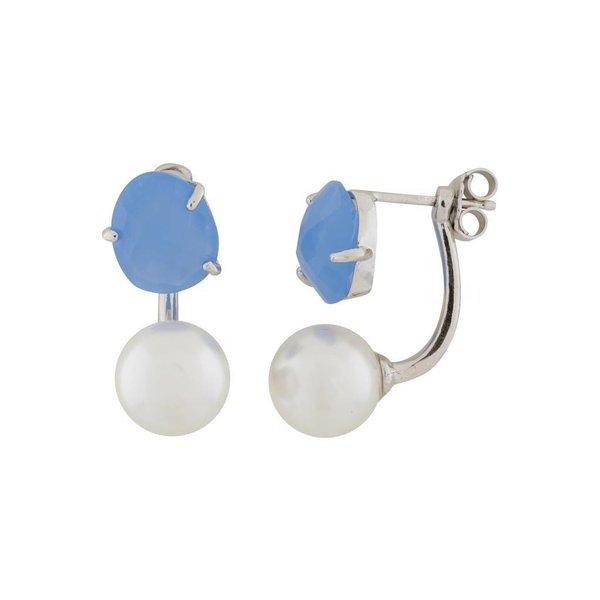 Zilveren gerodineerde earjackets - parel