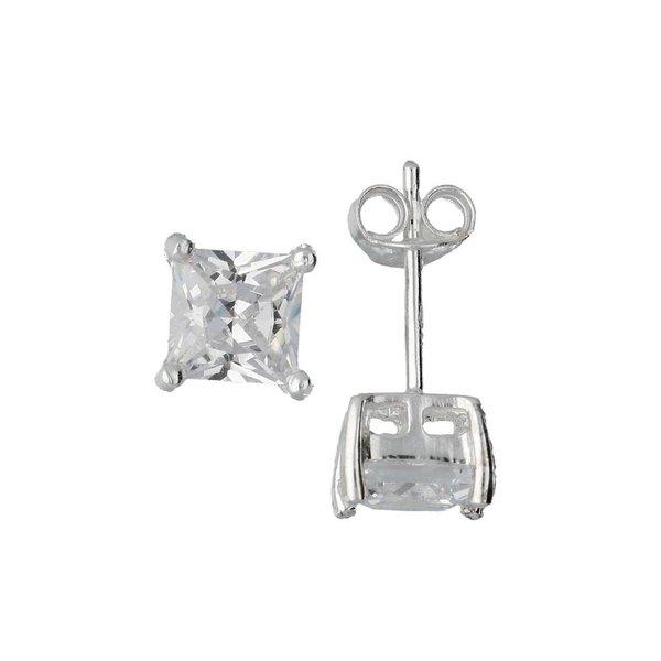 Zilveren solitaire oorknopjes - zirkonia - 6 mm