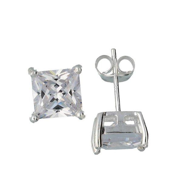 Zilveren solitaire oorknopjes - zirkonia - 8 mm
