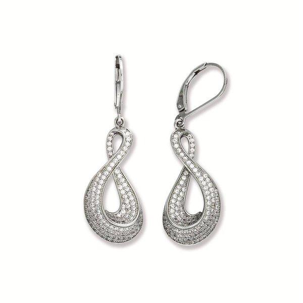 Zilveren oorhangers - pave zirkonia