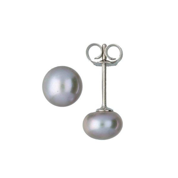 Zilveren oorknoppen - zoetwaterparel - grijs - 7mm