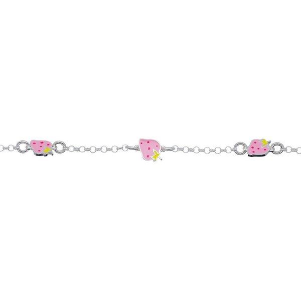 Zilveren bedelarmband - roze aarbeien - 14+2 cm