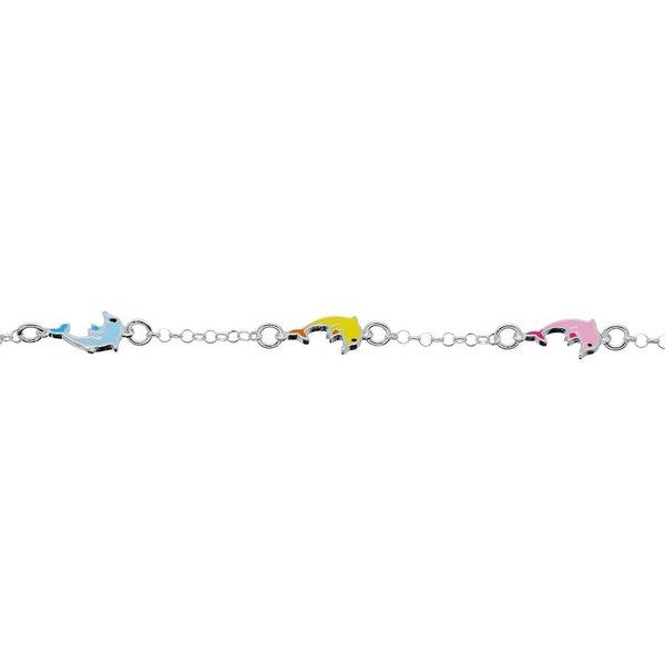 Zilveren bedelarmband - pastel dolfijnen - 14+2 cm