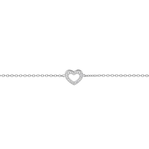 Zilveren symboolarmband - hart - zirkonia