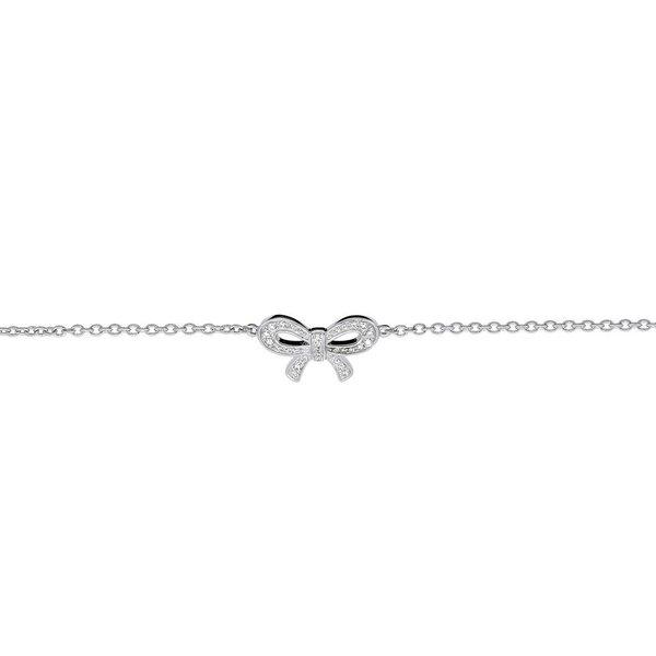 Zilveren symboolarmband - strik - zirkonia