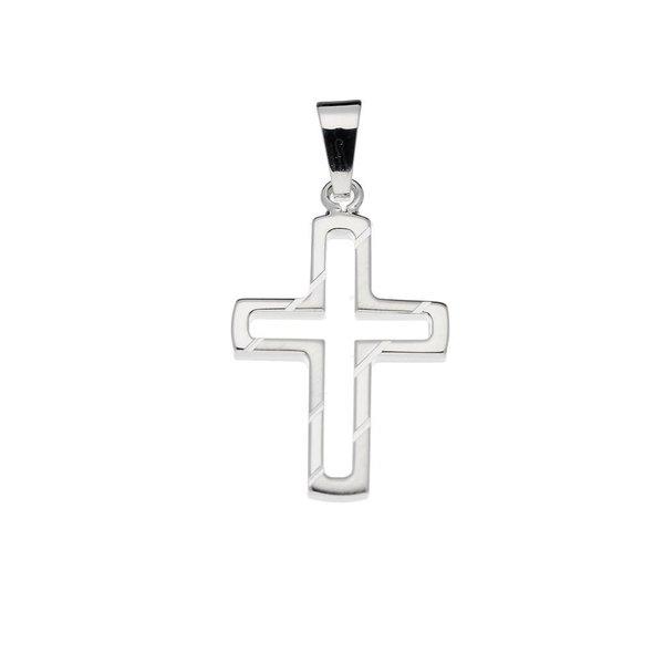 Zilveren kruisje - 24.5x14.5mm - bewerkt - massief