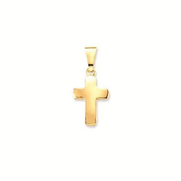 Gouden kruisje - 19 x 9.0 mm - glad - hol