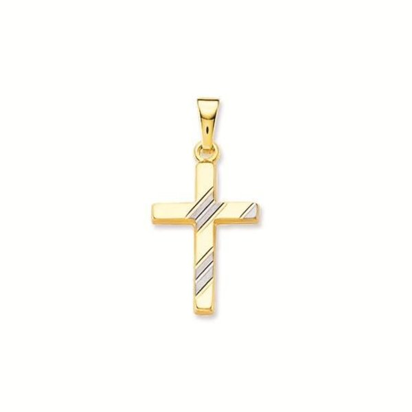 Gouden kruisje - 25 x 12 mm - met witgouden streep