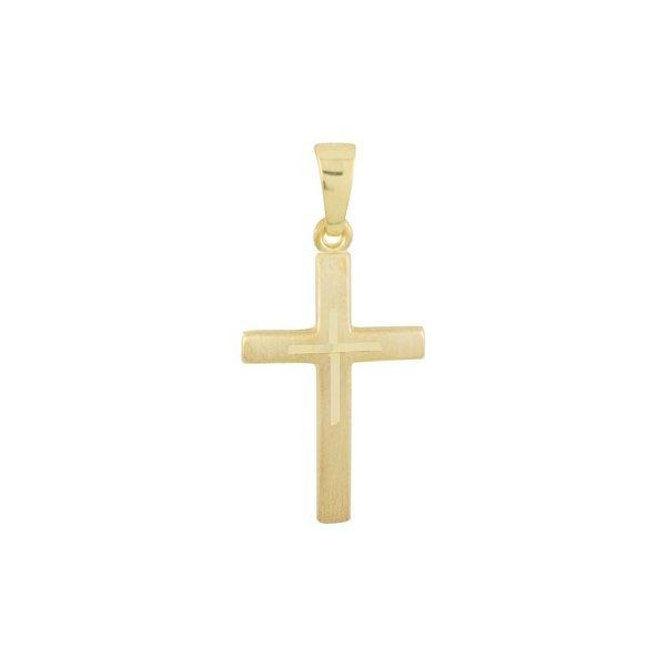 Gouden kruisje - 25 x 12 mm - mat glanzend - hol