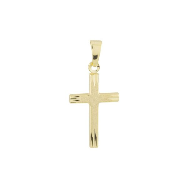 Gouden kruisje - 25 x 12 mm - ijsmat glanzend