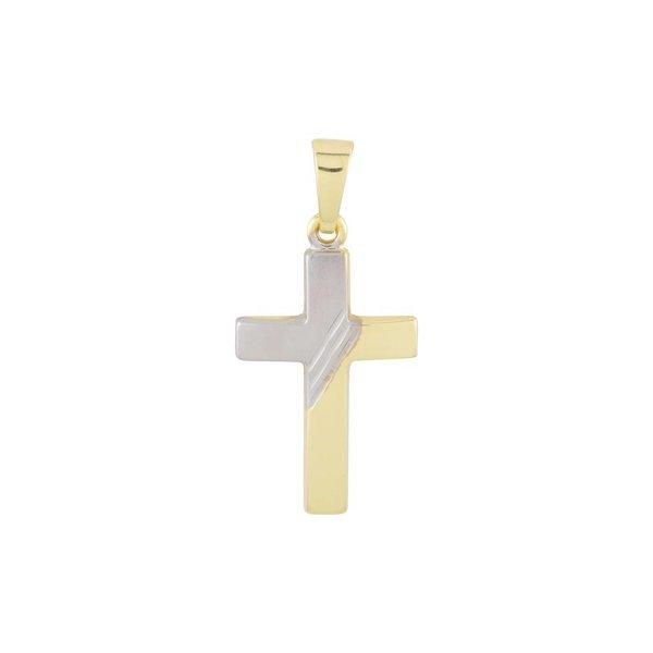 Gouden kruisje - 25 x 12 mm - bicolor