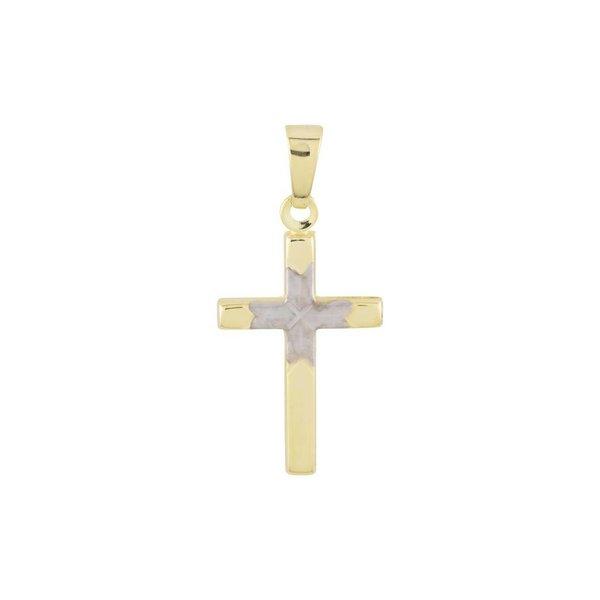 Gouden kruisje - 26 x 12 mm - bicolor