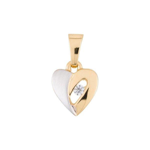 Gouden hanger - hart - bicolor - zirkonia