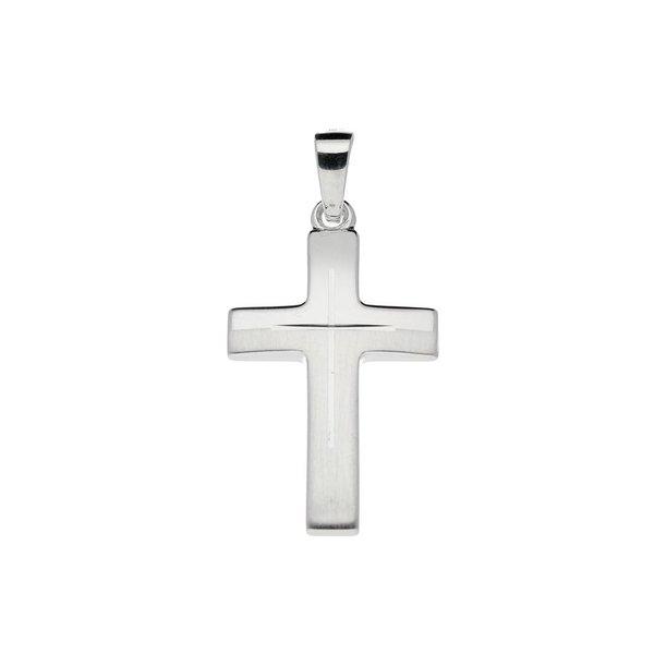 Zilveren kruisje - 28 x 14 mm - mat glanzend