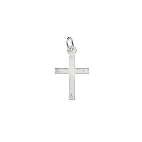 Zilveren kruisje - 20 x 10 mm - gediamanteerd
