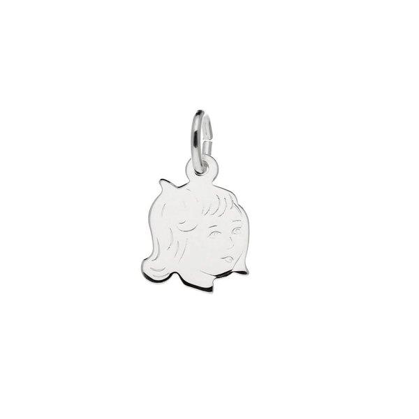Zilveren kinderkopje - 14x10mm - meisje