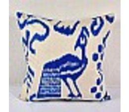 Kussen Blauw Wit.Decoratief Kussen 50x50 Zijde Handgeschilderd En Handgeweven In Tribal Patroon Blauw Wit