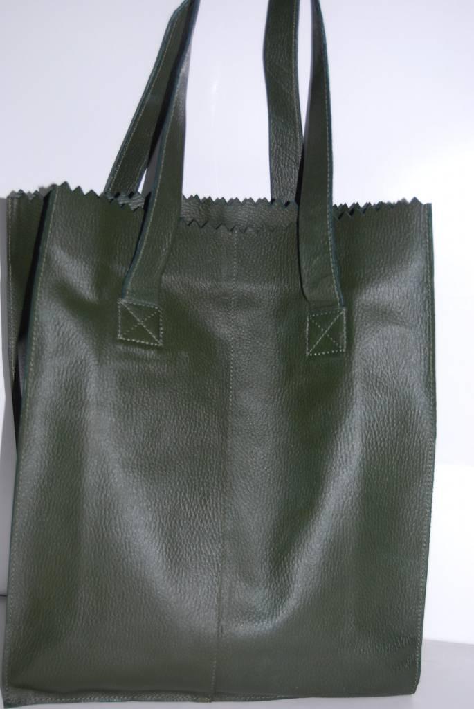 e0efd5a3f46 BYLUZ Leren shopper groen - byluz