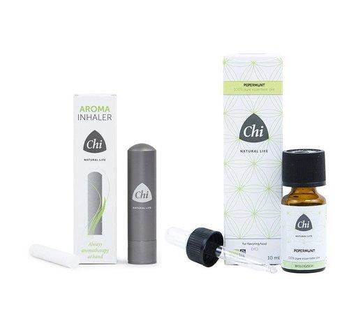 Chi Chi Aroma Inhaler + Pepermunt etherische olie, Cultivar 10 ml