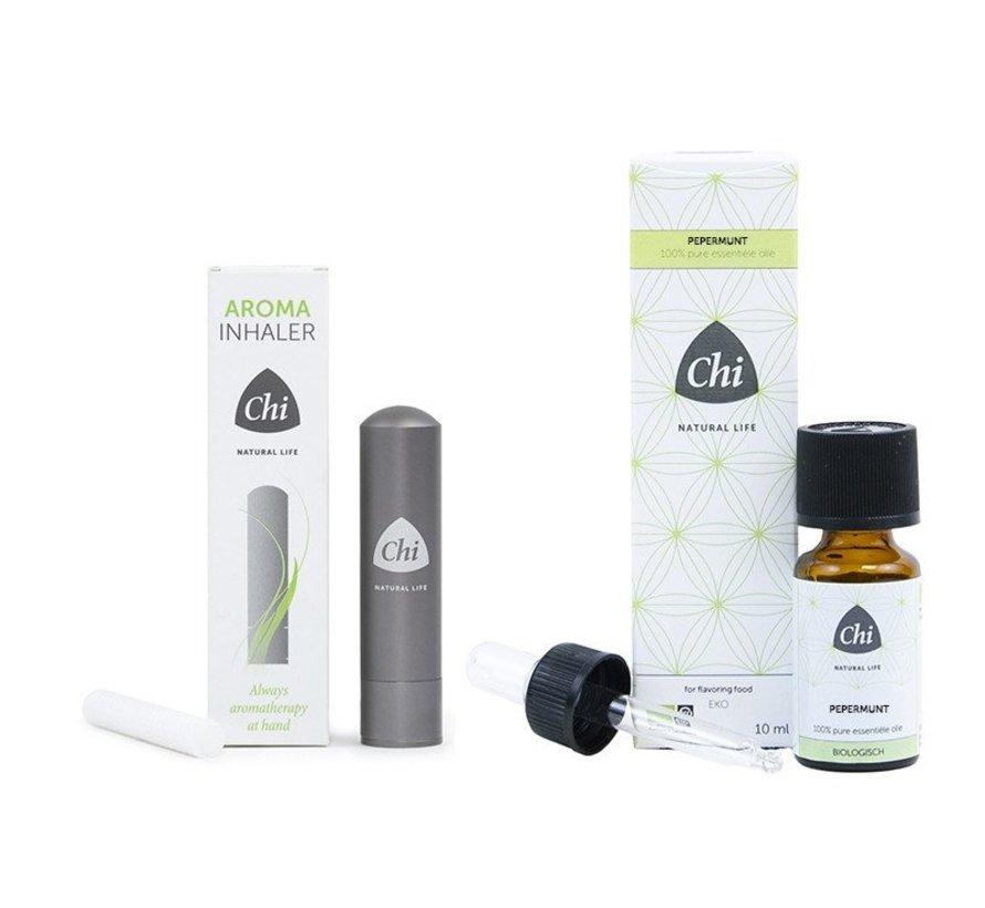 Chi Aroma Inhaler + Pepermunt etherische olie, Cultivar 10 ml