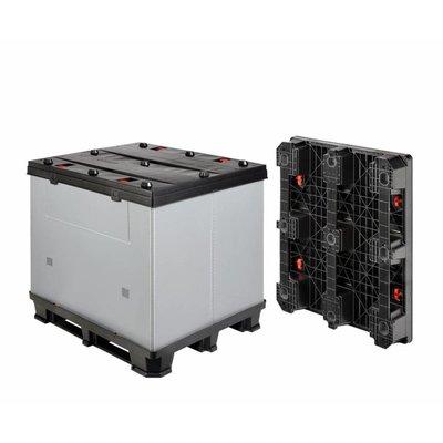 Inklapbare kunststof palletbox 1220x1020x1180mm - 3 sledes, afklikbaar
