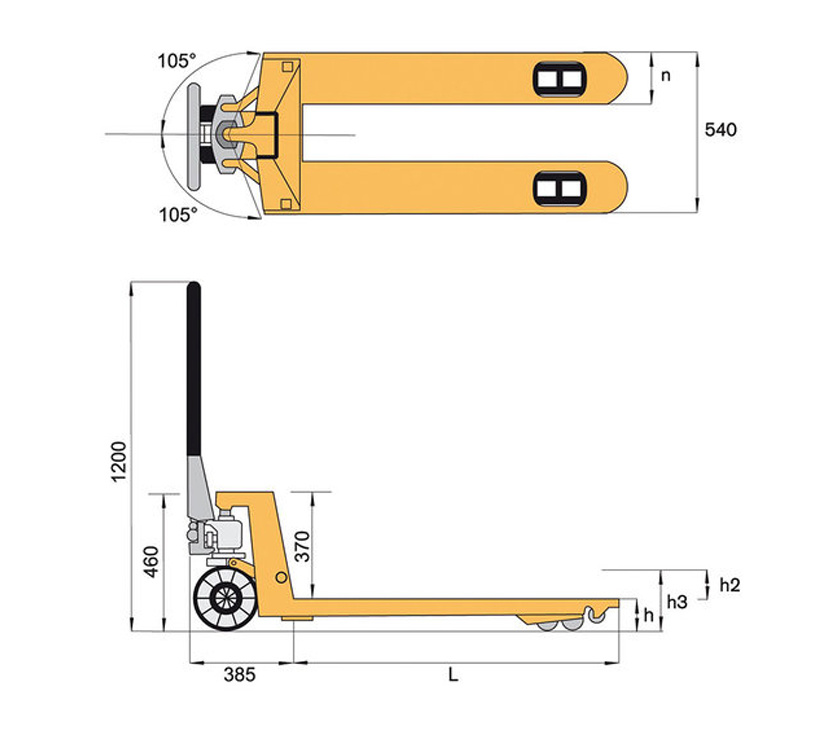 Skizze Hubwagen