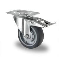 Zwenkwiel geremd 100mm diameter met kogellager - PP /TPR