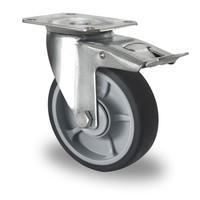 Zwenkwiel geremd 125mm diameter met kogellager - PP /TPR