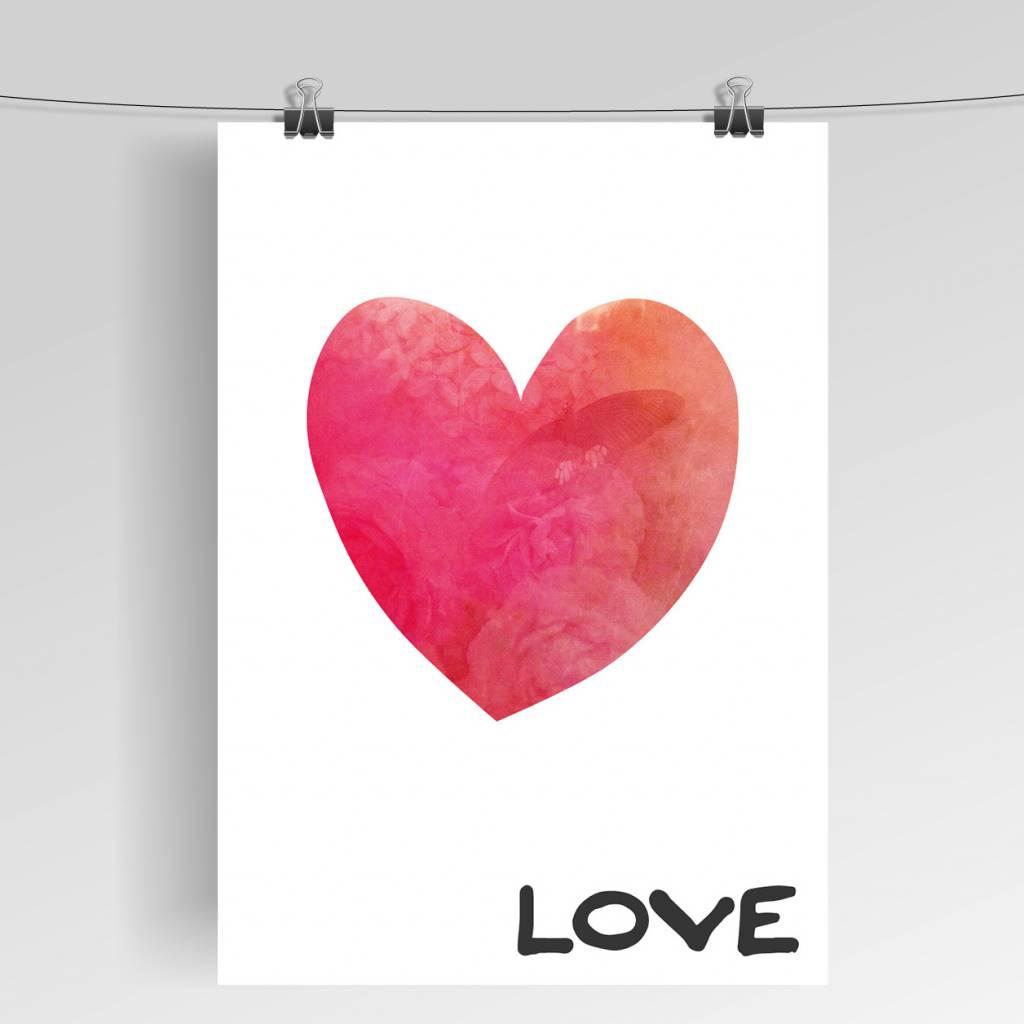 Lovely Bird Love Herz Poster