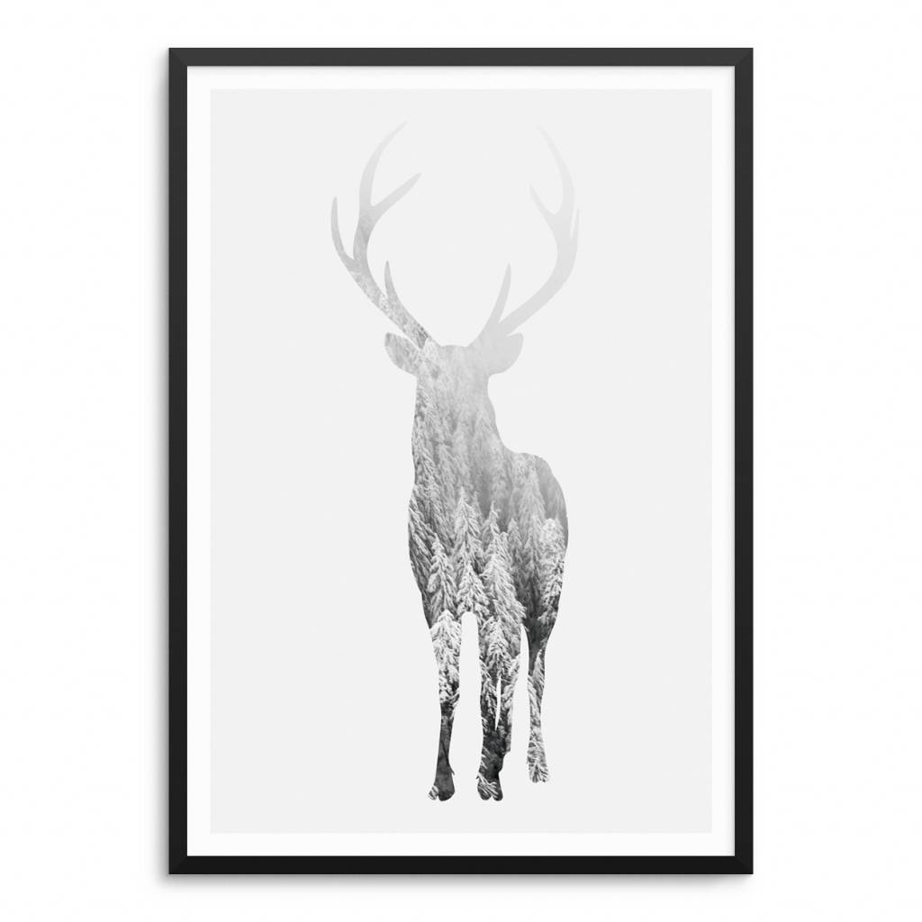 Lovely Bird Deer Poster